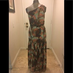 Excellent condition one shoulder maxi print dress
